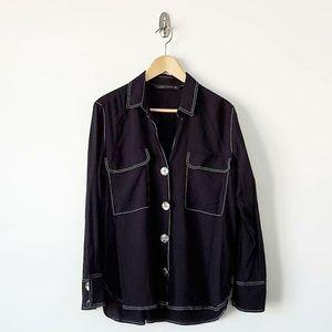 Zara Woman Button Down Long Sleeve Blouse